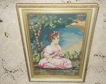 Embroidery Young Girl, Needle Work Embroidery  Little Girl in Pink Dress, Vintage Home Decor, Victorian Home Decor, Cottage Chic Decor,:)s