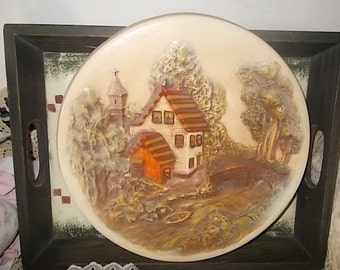 Collectible Ceramic Plate, Old Home with River and Bridge, Country Decor, Farm House Decor, Vintage Home Decor, Early American Decor  :)s
