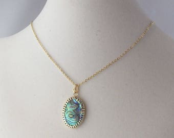 Simple Abalone Oval Pendant in Gold Setting on adjustable Gold Chain