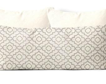 decorative body pillow cover,farmhouse decor, 20x54 inch pillow cover,trellis,body pillow case, gray, taupe, geometric, bed pillow
