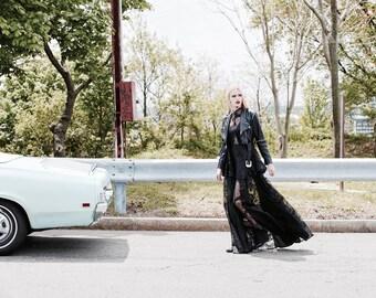 Sheer black floral and silk paneled godet maxi skirt