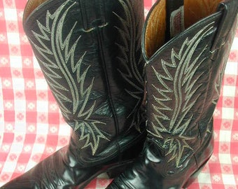 Vintage Western Cowgirl Leather Boots, Nacona 7 B, Black Leather with Fancy Stitched Tops, Made in the USA