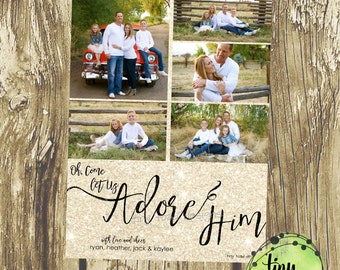 Oh Come Let Us Adore Him Gold Holiday Cards, Christmas Cards, DIY Printable, digital file (item 1523)
