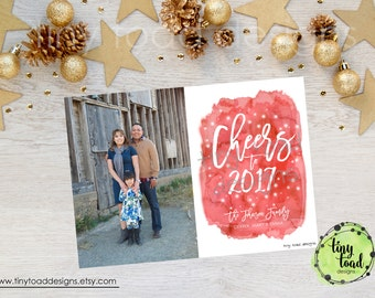 Cheers! New Years Holiday Cards, Christmas Cards, DIY Printable, digital file (item 1524)