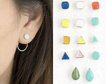 Tiny Color Geometric Front Stud With Round Circle Hoop Back Earrings, Ear Jacket Geo Jewelry, Bridesmaid Sister Girlfriend Gift ej de gj
