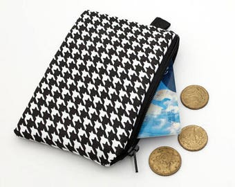 Zipper Coin Purse, Small Zipper Pouch, Padded Coin Purse, Small Zip Wallet - black and white tiny houndstooth