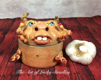 GARLIC TREASURE TROLL -Wheel thrown, hand altered & sculpted. Just a friendly body to hold small items, jewelry, garlic, favorite candy. TT6