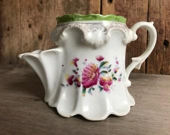 Antique German Porcelain Floral Scuttle Shaving Mug, Transfer, Made in Germany