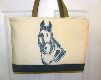 Reclaimed cotton horse feed sack upcycled
