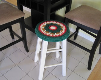 Holiday Crochet Bar Stool Cover/Cozy - cherry red/paddy green/soft white (CBSC3A)