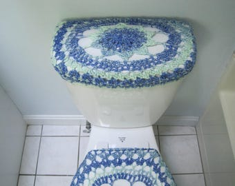 Crochet Tank Lid Cover or Toilet Seat  bluegrass TTL17O 19VC14 TSC17O