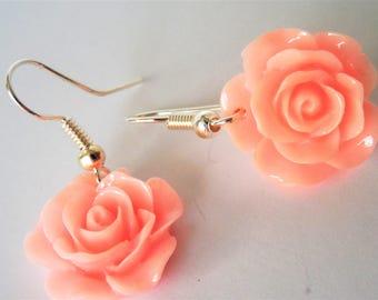 Pink Rose Earrings, Pink Rose, Rose Earrings, Easter Earrings, Mothers Day Earrings, Simplistic, Minimalist, Elegance,