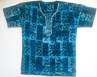 Shirt with Blue Tie Dye Print and Embroidery