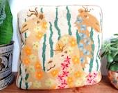 RESERVED FOR BRITT- Adorable Vintage Crewel Needlepoint Camel Throw Pillow Cushion Retro Kids Decor