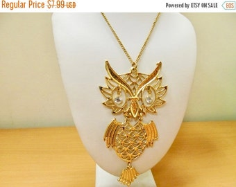 On Sale Vintage Large Movable Owl Necklace Item K # 2690