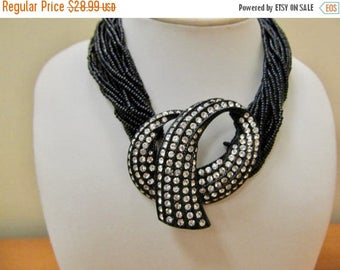 On Sale PAULA LTD Retro Multi Strand Black Glass Beaded Necklace with Rhinestones Item K # 2201