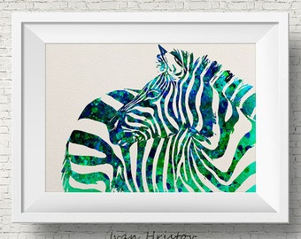 Watercolor zebra print, watercolor print, zebra art, safari art, animal art, animal decor, blue green wall, watercolor art print