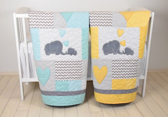 Twin Baby Quilts , Elephant Crib Bedding,  Teal  Yellow and Gray Blanket, Chevron  Blankets, Toddler Patchwork Bespreads