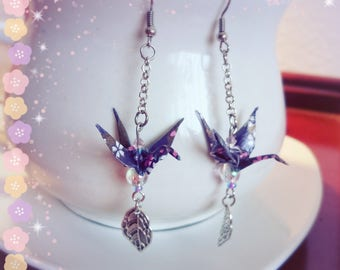 Origami Jewelry paper crane, Paper earrings, Paper crane earrings