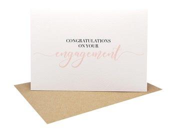 Engagement Card Congratulations - Blush Script Font - ENG027