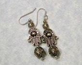 Bali Silver, Evil Eye, Smooth and Mirror Ball Silver & Hamsa Bead Frame Drop Earrings