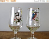Black Friday Sale Vintage Wine glasses, hand painted bird, Retro Glassware, Kitsch glasses, wedding glasses