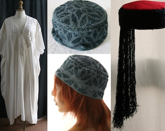 Vintage, embroidered tunic and 2 hats, African, cotton