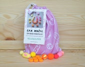 DIY Polymer Clay Bead Making Kit in Yellow & Pink including handmade drawstring bag