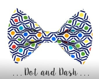Blue, Green, Red Dog Bow Tie; Colorful Dog Collar BowTie: Dot and Dash