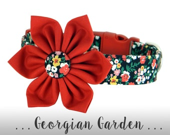 Red, Yellow, Black Flower Dog Collar; Floral Dog Collar: Georgian Garden
