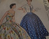 Vintage 1950's McCall's 3270 Dress and Bolero Sewing Pattern, Size 12 Bust 30