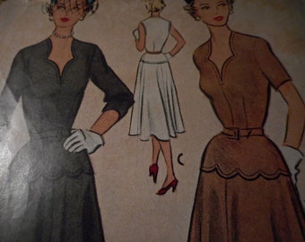 Vintage 1950's McCall 8318 Dress Sewing Pattern Size 16 Bust 34