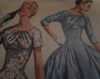 Vintage 1950's Simplicity 1537 Dress Sewing Pattern, Size 14 Bust 32