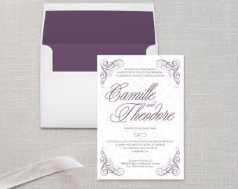 Traditional Wedding Invitation Suite with Ornate Filigree Corners