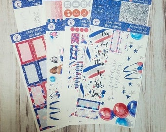 Lady liberty, 8 page, sticker kit for the Erin Condren vertical life planner