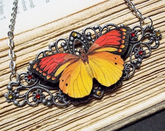 Orange and Yellow Victorian Butterfly Necklace