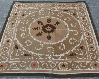 5.15' x 5.15' Suzani Vintage Suzani Old Embroidery Suzani Wall Hanging Uzbek Suzani Table Cover Ethnic Suzani FAST SHIPMENT with ups - 10973