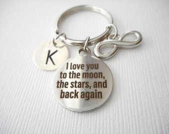 I Love You to the Moon, the Stars and Back Again, Infinity- Initial Keychain/ Couple, Keychain for women, gifts for wife, Gifts for women