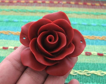 "2"" Excellent  Rose pendant, Red Cinnabar, Jewelry Making supplies B6701"