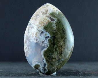 Free form Green moss agate cabochon, Natural stone, Jewelry making supplies B6744