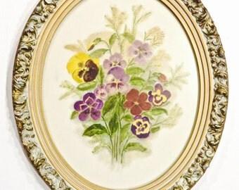 Vintage, Oval Framed Pansies Print, Flower Bouquet, English Cottage, Baroque Oval Frame