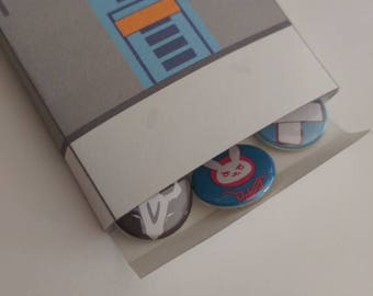 Overwatch inspired pinback buttons Lootbox