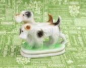 Vintage Terrier Dog Figurine, Occupied Japan Figurine, Dog Figurine, Puppies Figurine, Airedale Terrier, Fox Terrier, Mid Century, Epsteam