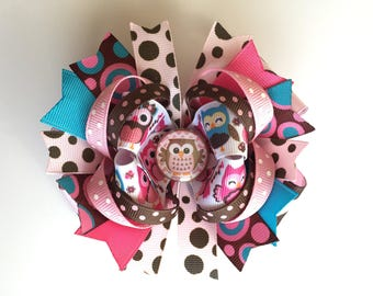 SALE! Ready To Ship Hairbow! Pink And Brown Owl Hairbow, Cute Owls Hairbow, Spring Hairbow, Polka Dot Boutique Hairbow, Girls Hairbow