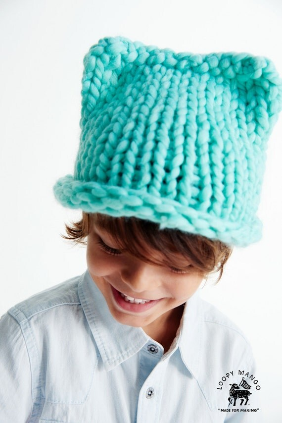 8fec82f3e7d DIY Kit - Mini Kitty Hat- Chunky Merino Wool from loopymango on Etsy ...