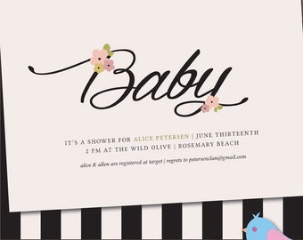Soft'n'Sweet BabyShower Invite / includes ADVICEcard / Personalized Birth Announcement / Printable DIY/ #NewBaby #DIYBabyShower #BabyStripes