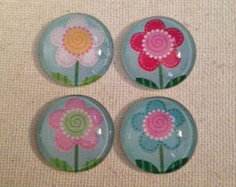 Flower Magnets, Glass Magnets