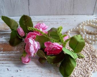 Vintage Pink Millinery Flowers, Vintage Hat Flowers, Hat Flowers, Pink Millinery, Millinery Roses, Hat Flower Roses, Antique Hat Flowers