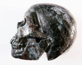 Arfvedsonite Skull 2 Inch 97g Carved Black Stone Crystal Blue Flash Meditation Intuition Scrying Gemstone