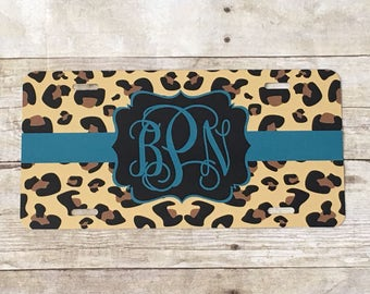 Turquoise and leopard print personalized license plate